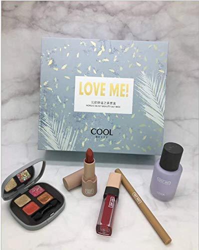Ensemble de maquillage cinq pièces, rouge à lèvres en glacis à lèvres en boîte, crayon à sourcils, fard à paupières