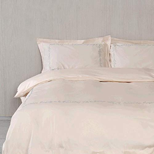 Save %41 Now! Extra Soft Sheet Set 4 Piece Set 100% Cotton Luxury Bed Sheets,Solid Color Embroidered...