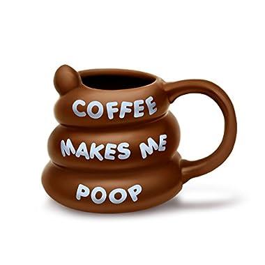 BigMouth Inc Coffee Makes Me Poop Mug, Funny Gag Gift, 14 oz Brown Ceramic Coffee Mug