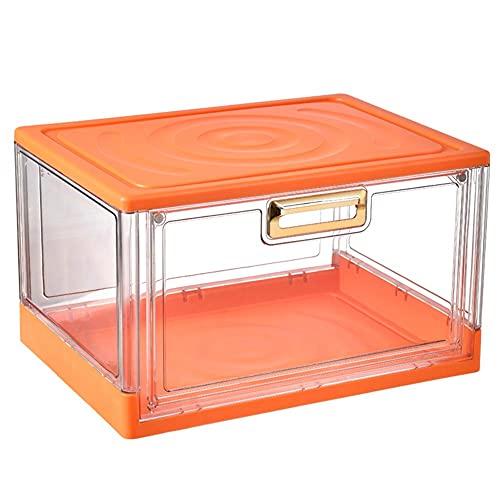 QPALZMGK Plegable Transparente Caja De Almacenamiento con Tapa De 2 Piezas De La Caja De Plástico Plegable Adecuado para La Familia De Guarda Equipaje De Zapatos De Moda (38 * 27.8 * 22.6Cm),Naranja