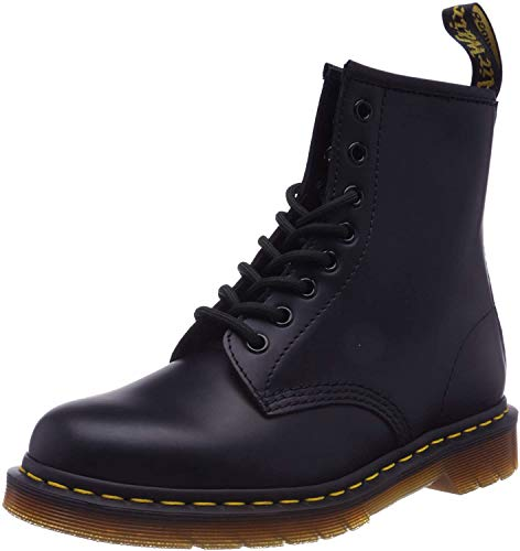 Dr. Martens Damen 1460W Originals Eight-Eye Lace-Up Boot, 8-Loch, Stiefel, Schwarzes Glattleder, 37 EU