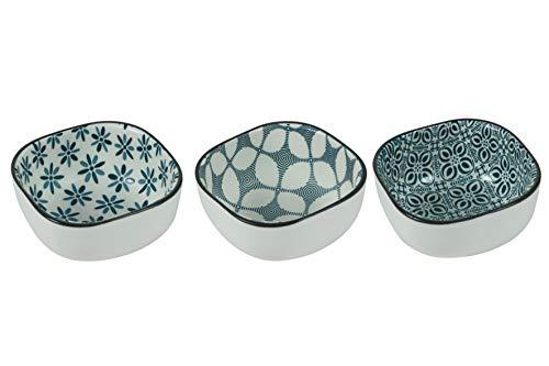 Double Blue - Juego de 3 cuencos pequeños cuadrados de gres