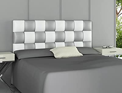 Cabecero tapizado en piel ecológica válido para camas de 135 cm y 150 cm. Color: PLATA Y BLANCO Preparado para colgar en la pared. Medidas: ancho: 160 cm; alto : 60 cm; grosor: 3 cm. Los pedidos se envían a través de agencias de transporte nacionales...