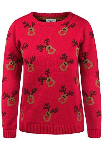 BlendShe Christel Maglione Pullover in Maglia Maglieria di Natale da Donna con Girocollo, Taglia:S, Colore:Chinese Red (26021)