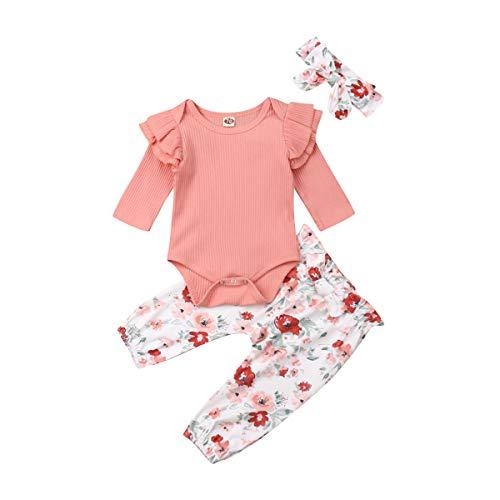Geagodelia Babykleidung Set Baby Mädchen Langarm Body Strampler + Blumen Hose + Stirnband Neugeborene Kleinkinder Warme Babyset Kleidung T-28852 (0-3 Monate, Pink 207)