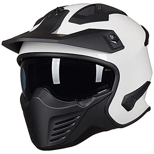 ILM Open Face Motorcycle 3/4 Half Helmet for Moped ATV Cruiser Scooter DOT (White, M)