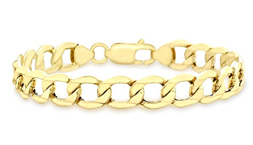 Carissima Gold Women's 9 ct Yellow Gold Hollow 9 mm Curb Chain Bracelet of Length 21.5 cm/8.5 Inch