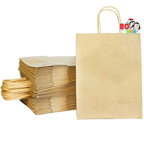 80 Bulk Brown Holiday Paper Gift Bags with Handles, Christmas Kraft Paper Gift Bags for DIY Goody Bags, Xmas Party…