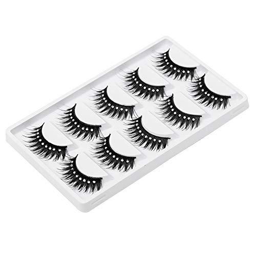 5 Paires Maquillage De Scène Extension Cils Noir Longue Avec 9 Diamants Décoration Lashes Luxurious Volume Naturel Messy Fluffy