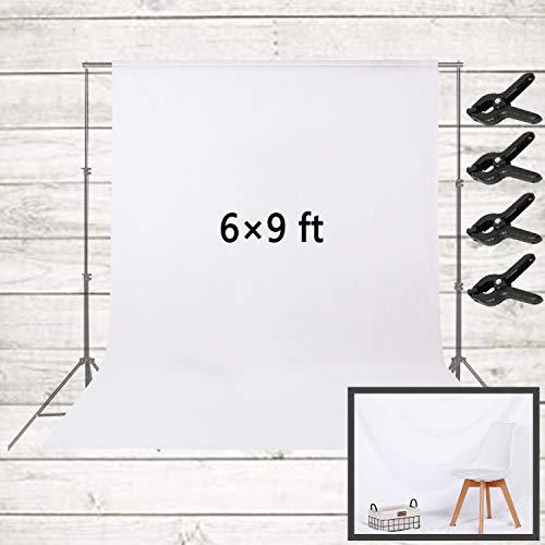 6 x 9ft Hintergrund Fotografie weißer | Fotostudio Hintergrundmit 4 Hintergrundclips | Faltbare Hintergrund für,Video Studio,Fotografie