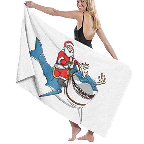 Sale!! Santa Riding Shark Reindeer Christmas Themed Party Pattern Printed Beach Blanket Mat Pool Bat...