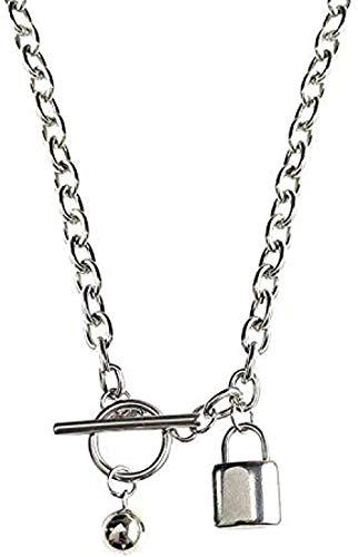 GLLFC Collar para Mujer Hombre Mujer Collar con Colgante de Bloqueo Collar Cadena Colgante para Mujer Hombre