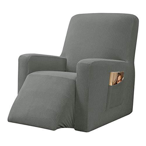 CHUN YI Strech Recliner Überzug Sessel Husse, Bezug für Relax Fernsehsessel Relaxstuhl, 1 stück Jacquard Stuhl Schonbezug mit Gummiband, Liege Sessel (Graugrün)