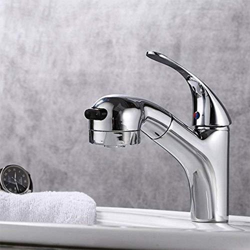 GUOCAO Grifo de baño de baño/grifo de lavabo extraíble, y frío de un solo agujero, tubería de agua de lavabo/revestimiento multicapa, cocina segura y duradera a prueba de óxido