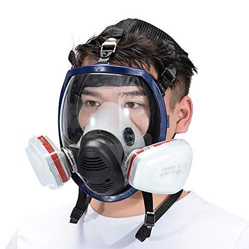 Maschera Antigas A Filtro Autoadescante Respiratore Pieno Facciale Protezione Respiratore di Sicurezza Professionale per Vernice Polvere Prodotti Chimici Militare,Set c