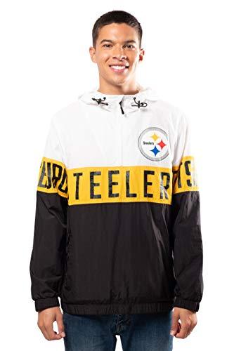 Ultra Game NFL Pittsburgh Steelers Mens Quarter Zip Packable Hoodie Windbreaker Jacket, White, Small