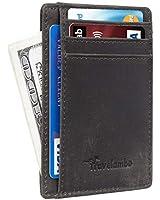 Travelambo Front Pocket Minimalist Leather Slim Wallet RFID Blocking Medium Size(Crazy Horse Grey Premium)