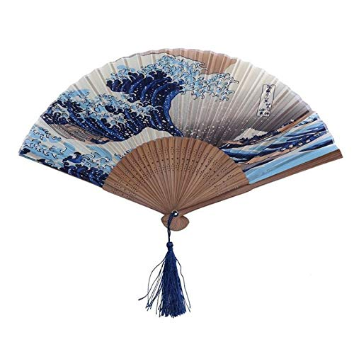 weichuang Fuji Kanagawa Waves - Abanico plegable japonés de seda, accesorio para boda, decoración de eventos (color: A)