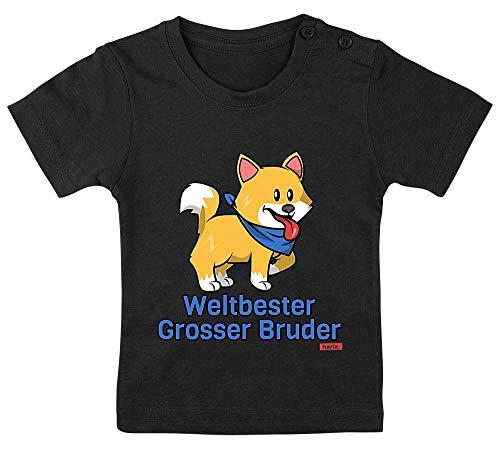 """Hariz - Camiseta para bebé, diseño de pingüino con texto en alemán """"Weltbeste Grosser Hermano más grande del mundo"""", color negro, 3-9 meses, 60-69 cm"""