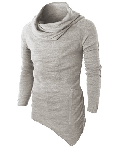 H2H Mens Casual Cowl Neck Regular Fit Pullover Sweater LightGray US XL/Asia XXL (KMTTL046)