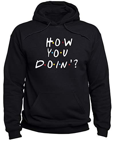 EUGINE DREAM How You Doin Joey Tribbiani Friends Sweatshirt Unisex Felpa con Cappuccio Nero M