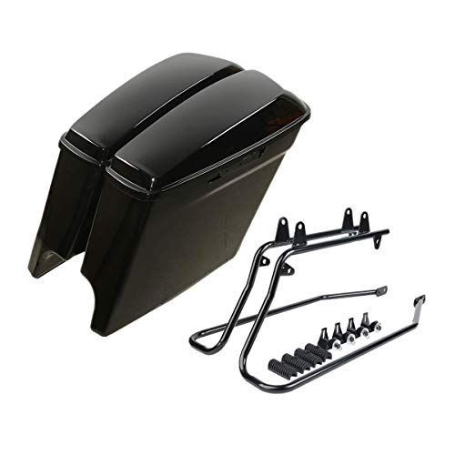 Green-L Vivid Black 5' Stretched Hard Saddlebags with Top Rail Guard Fit for Harley Softail Heritage Deluxe Models 1986-2013