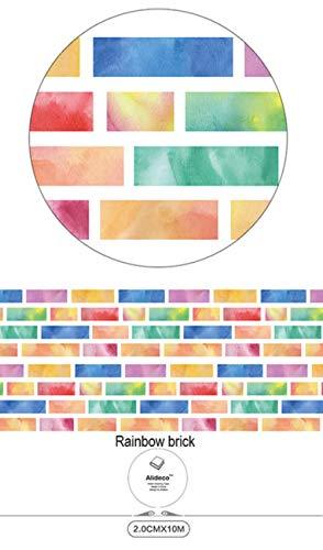 MegOK Alideco DIY Japanese Paper Washi Tapes Cintas de enmascaramiento de Arco Iris Decoración Cintas Adhesivas Pegatinas de Scrapbooking papelería 15 cm * 10 m, ladrillo de Arco Iris