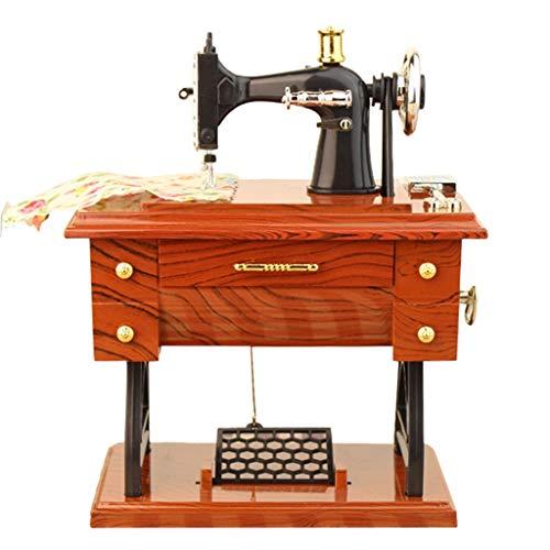jiumoji Vintage Mini Sewing Machine Music Box Simulation Stylish Mechanical Birthday Present for Kids