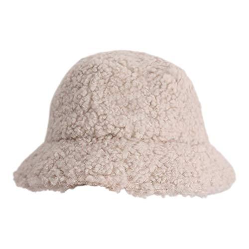 hat Sombrero de Cubo de Las señoras Sombrero de arbusto ala Ancha mullida Piel sintética Piel de Peluche Moda de Invierno fácil de Llevar (Color : White)