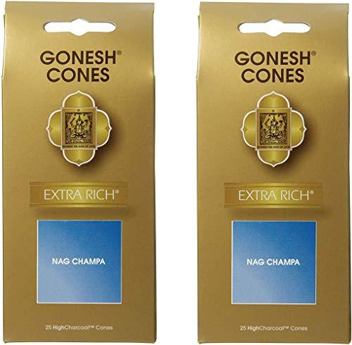 【2個セット】 ガーネッシュ(GONESH) インセンス コーン エクストラリッチ ナグチャンパ 25個入 (お香)