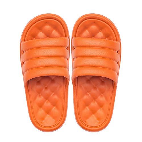 XJJ Zapatillas De Casa,Lindo Color Caramelo Hogar Suave Y Cómoda Zapatillas Gruesas Fondo Suave Antideslizantes Suelas De Masaje Hombres Mujeres Zapatos De Baño Regalo Creativo, Naranja,37,38