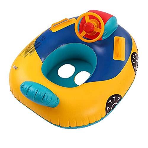 Nicoone Anillo de natación inflable, flotador de natación para bebés, yate con volante, 80 cm x 65 cm, para niños de 1 a 5 años