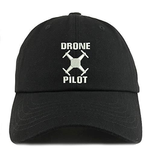 Trendy Apparel Shop Drone Operator Pilot Embroidered Low Profile Soft Cotton Dad Hat Cap - Black