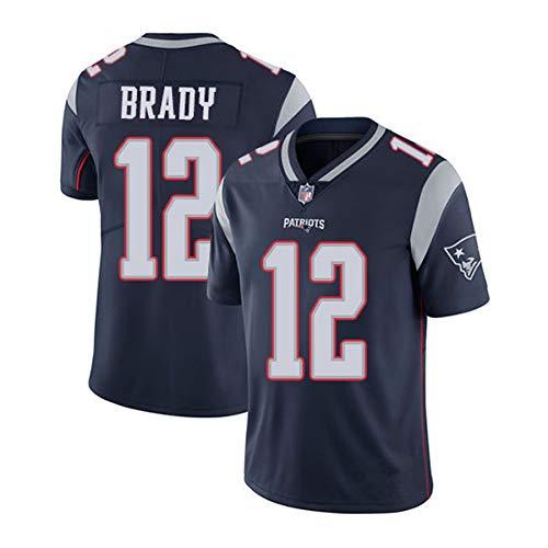 WFGY Jerseys -Tom Brady Nº 12 Patriotas De Nueva Inglaterra De Rugby Americano Jersey, Bordado De Tela, Bordado Aficionados Versión Fan Camisetas,Gris,XXXL
