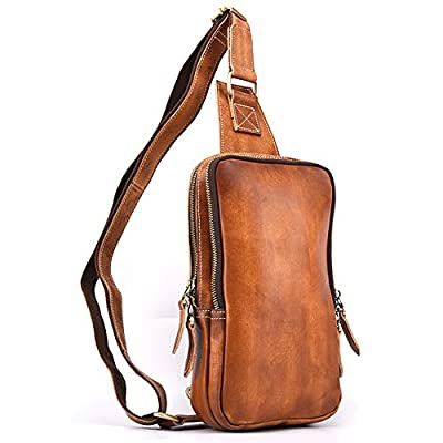vintage Men's Hand rubbing leather chest bag Business Casual Outdoor Crossbody Sling Bag (Light yellow style-3)