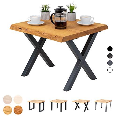 LAMO Manufaktur Couchtisch Baumkante Beistelltisch Holztisch 60x60x47 cm (LxBxH), Design, Esche Rustikal/Schwarz, LKB-01-A-003-9005D