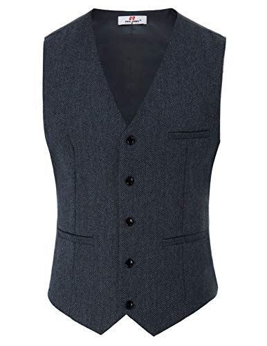 PaulJones Uomo Caparison Vest Single Jacket V-Neck Classic Taglia M Blu Nero