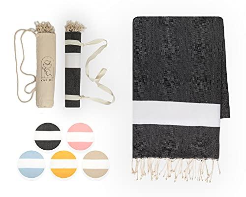 DARIDO Diamond Fouta Hammam Towel Beach Towel - Toalla de playa (XXL, 100 x 200 cm, 100% algodón, hecha a mano, ligera, suave, absorbente, manta para camping, manta para picnic), color negro