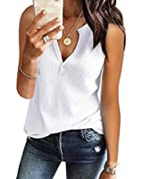 Tank Tops for Women Cotton Workout Waffle Knit V-Neck Summer Casual Sleevelss Shirts White