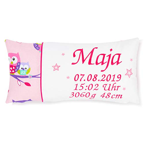 Amilian Kissen 40 x 20 cm mit Namen und Datum bestickt Geschenk zur Geburt Taufe zum Namenstag personalisiert fürs Baby inkl. Bezug 100% Baumwolle Muster: Eule Rosa Weiß