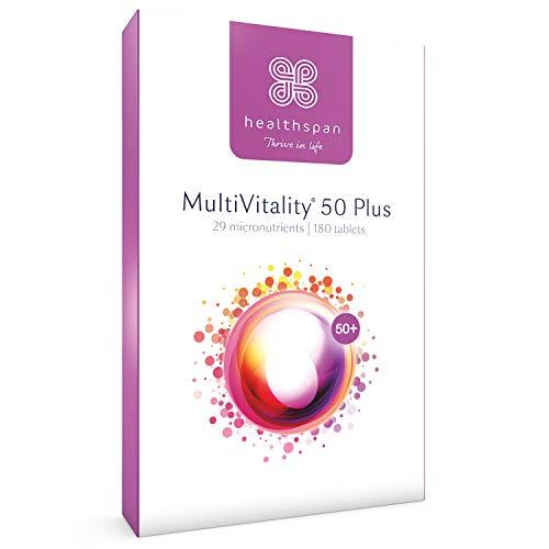 MultiVitality 50 Plus | Healthspan | 25 Micronutrients | Ginkgo Biloba | Citrus Bioflavonoids | Multivitamin | Advanced Multivitamin for The Over-50s | Vegetarian (180 Tablets)
