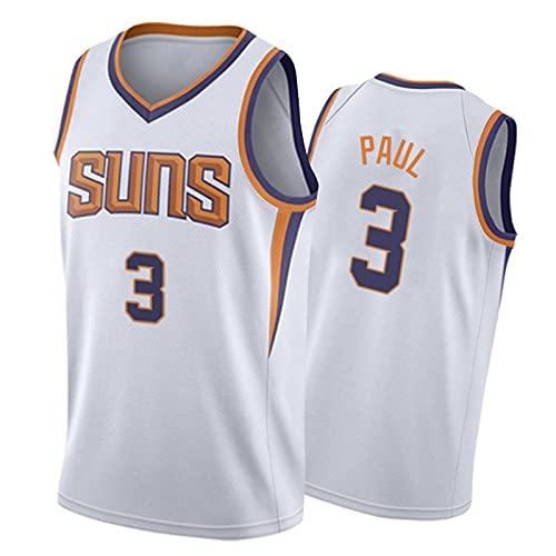 Suns Chris Paul Basketball Trikot 3# Herren, 2021 Neue Stadt Edition Jersey Fan Sporttraining Ärmelloses Tshirt, Atmungsaktive Mesh Stickerei Tops Freizeitwesten White-L
