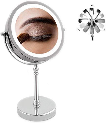 Llpeng Miroir de Maquillage 7 Pouces Lighted Miroir de Maquillage, LED Double Face 1x / 10x Grossissement Miroir cosmétique, 360 degrés de Rotation Miroir avec on/Off à Bouton-Poussoir à Pile
