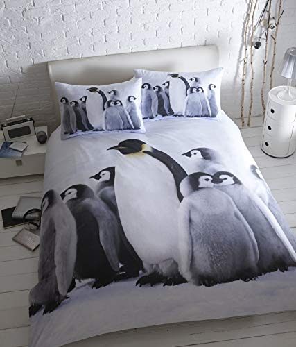 Baby Penguins Quilt Duvet Cover and 2 Pillowcase Bedding Bed Set Cute Animals, Double