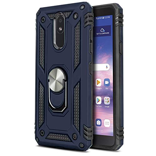 CasemartUSA Phone Case for [LG Journey LTE (L322DL)], [Loop Series][Navy Blue] Full Rotating Metal Ring Cover with Kickstand for LG Journey LTE (Tracfone, Simple Mobile, Straight Talk, Total Wireless)