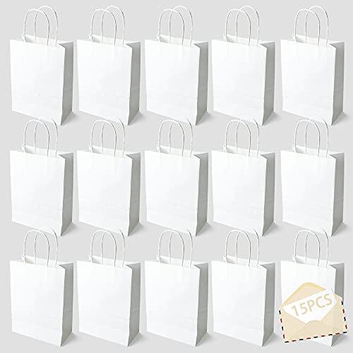 15PCS Color Bolsas Papel Kraft,Bolsas de Papel con Asas de Colores,Bolsa de Regalo Kraft con Asa,Bolsas de Fiesta de Regalo con Asas,Bolsas Papel Regalo (blanco)