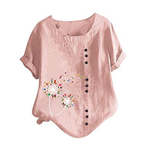 Leinenoberteile Bluse T-Shirt Asymmetrische Einfarbige Knopfleiste Damen Große Größen Oberteile mit Kurzarm Shirts Lose Lässige Sommer Freizeit Tunika Tops