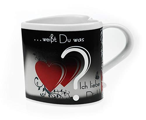 Monsterzeug Farbwechsel Tasse mit versteckter Ich liebe dich Botschaft, Love Mug Zaubertasse mit Thermo-Effekt, Kaffeebecher als Liebesgeschenk