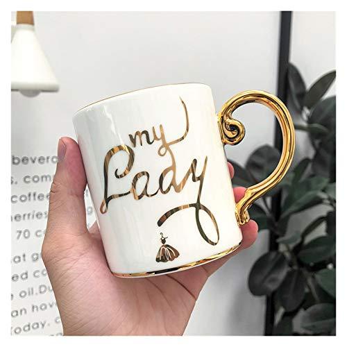YSJSPOL Taza de Agua 350ml Tazas de Dibujos Animados Tazas de café Cerámica Estilo nórdico Oficina Office Gold Manija Taza Té de Leche de Leche Taza de café Taza de Taza (Color : 5)