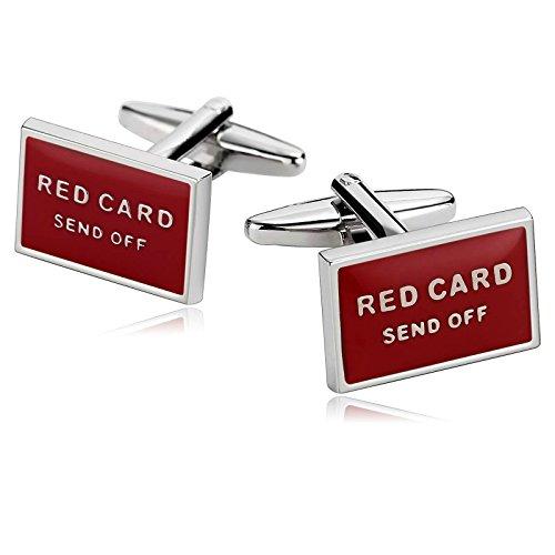 AnazoZ Gemelos Acero Inoxidable para Camisa Gemelos de Hombre Rectangular Red Card Send Off Gemelos de Hombre Rojo Gemelos Hombre